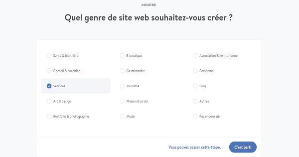 Avis Jimdo - Choix site