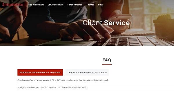 Avis SimpleSite - Support client