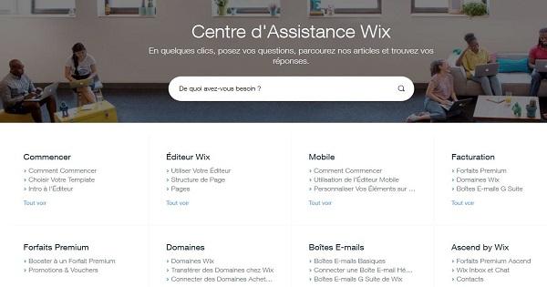 Avis Wix -Assistance client