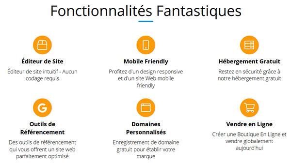 Fonctionnalités Site123